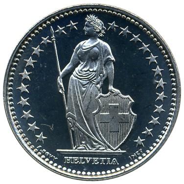 Coin 1 Franc 1968 2017 Switzerland Obverse