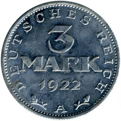 Coin > 3mark, 1922-1923 - Germany  (3rd Anniversary of Weimar Constitution) - obverse