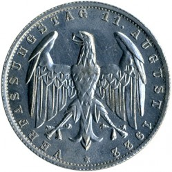 Coin > 3mark, 1922-1923 - Germany  (3rd Anniversary of Weimar Constitution) - reverse
