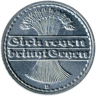 50 Pfennig 1919 1922 Deutschland Münzen Wert Ucoinnet