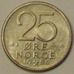 Coin > 25 ore, 1974-1982 - Norway  - obverse