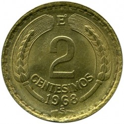 Mynt > 2centésimos, 1960-1970 - Chile  - obverse