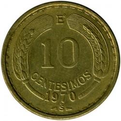 Mynt > 10centésimos, 1960-1970 - Chile  - reverse
