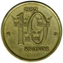 Mynt > 10kronor, 1991-2000 - Sverige  - obverse