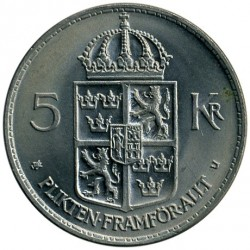 Mynt > 5kroner, 1972-1973 - Sverige  - reverse