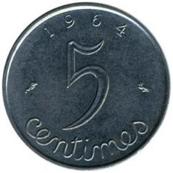 Moneda > 5centimes, 1961-1964 - França  - reverse
