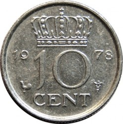 Coin > 10 cents, 1950-1980 - Netherlands  - obverse