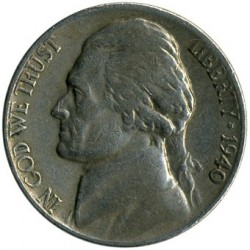 Монета > 5цента, 1938-1942 - САЩ  (Jefferson Nickel) - obverse