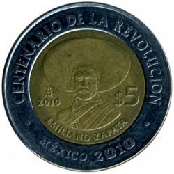 Coin > 5pesos, 2010 - Mexico  (Centenary of Revolution - Emiliano Zapata) - reverse