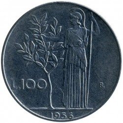 Coin > 100 lire, 1956 - Italy  - reverse
