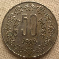 Mynt > 50paise, 1988 - India  (Copper-Nickel /non-magnetic/) - obverse