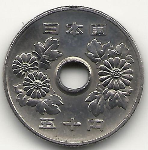 Earrings in genuine coins of 50 Yen-Sh\u014dwa from Japan.