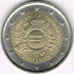 Coin > 2 euro, 2012 - Italy  (10 Years of Euro Cash) - reverse