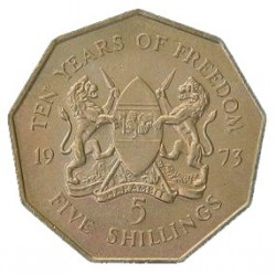 Moneta > 5scellini, 1973 - Kenya  (10° anniversario dell'indipendenza) - obverse