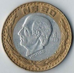 Coin > 20newpesos, 1993-1995 - Mexico  - reverse
