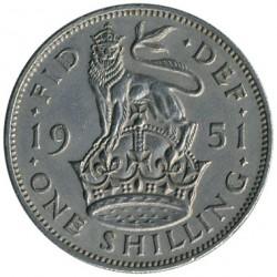 錢幣 > 1先令, 1949-1951 - 英國  (English crest, lion standing atop the crown) - reverse