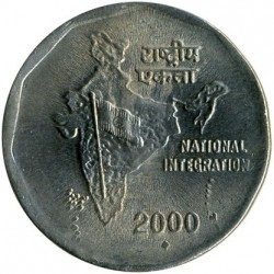Monēta > 2 rūpijas, 1992-2004 - Indija  (National Integration) - reverse