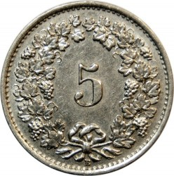 Coin > 5 rappen, 1934 - Switzerland  - obverse