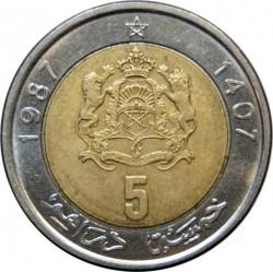 Münze > 5Dirhem, 1987 - Marokko   - reverse