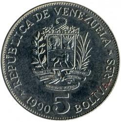 Νόμισμα > 5Μπολιβάρες, 1989-1990 - Βενεζουέλα  - obverse