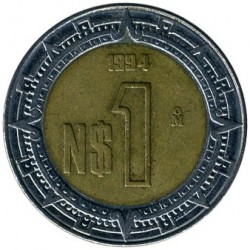 Coin > 1 new peso, 1992-1995 - Mexico  - obverse