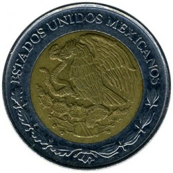 Coin > 1 new peso, 1992-1995 - Mexico  - reverse