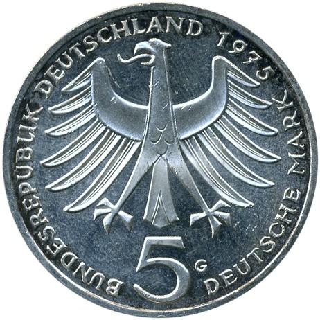 5 Mark 1975 Albert Schweitzer Deutschland Münzen Wert Ucoinnet