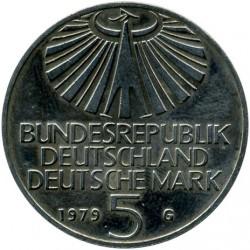 Moneda > 5marcos, 1979 - Alemania  (100º Aniversario - Nacimiento de Otto Hahn) - obverse