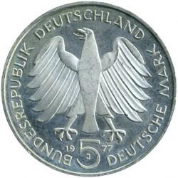 Moneda > 5marcos, 1977 - Alemania  (200º Aniversario - Nacimiento de Carl Friedrich Gauss) - obverse