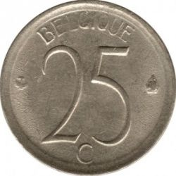 Moneta > 25 centesimi, 1964-1975 - Belgio  (Legenda in Francese - 'BELGIQUE') - obverse