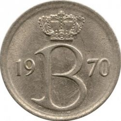 Moneta > 25 centesimi, 1964-1975 - Belgio  (Legenda in Francese - 'BELGIQUE') - reverse