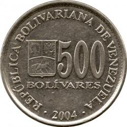 Coin > 500bolívares, 2004 - Venezuela  - obverse