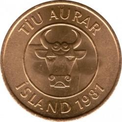 Монета > 10эйре, 1981 - Исландия  - obverse