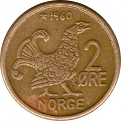 Coin > 2 ore, 1959-1972 - Norway  - reverse