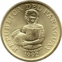 Coin > 5guaranies, 1992 - Paraguay  - obverse
