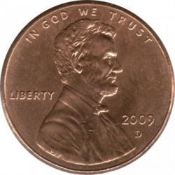سکه > 1 سنت, 2009 - ایالات متحده آمریکا  (200th Anniversary - Birth of Abraham Lincoln - Formative Years in Indiana) - obverse