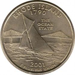 Münze > ¼Dollar, 2001 - USA  (Rhode Island State Quarter) - reverse