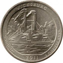 Монета > ¼доллара, 2011 - США  (Национальный парк Виксбург) - reverse