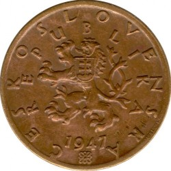 Moneta > 50hellers, 1947-1950 - Cecoslovacchia  - obverse