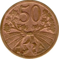 Münze > 50Heller, 1947-1950 - Tschechoslowakei  - reverse