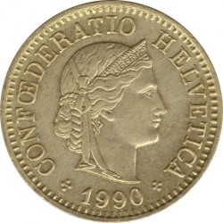 Coin > 5 rappen, 1990 - Switzerland  - obverse