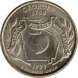 Moeda > ¼dólar, 1999 - EUA  (Georgia State Quarter) - reverse