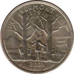 Münze > ¼Dollar, 2001 - USA  (Vermont State Quarter) - reverse