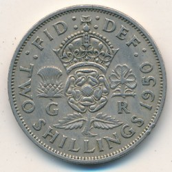 Coin > 2shillings(florin), 1950 - United Kingdom  - obverse