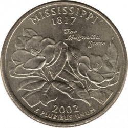 Кованица > ¼долара, 2002 - Сједињене Америчке Државе  (Mississippi State Quarter) - reverse