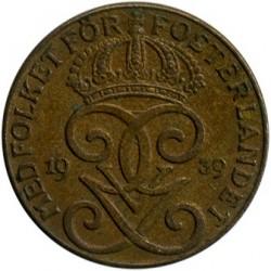 Moneta > 2erės, 1909-1950 - Švedija  - obverse