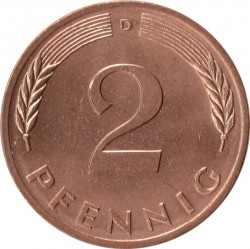 Coin > 2 pfennig, 1979 - Germany  - reverse