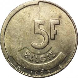 Munt > 5francs, 1986-1993 - Belgie  (Legend in Dutch - 'BELGIE') - reverse
