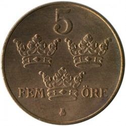 Moeda > 5ore, 1910-1950 - Suécia  - reverse