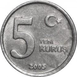 Moneda > 5nuevoskurus, 2005-2008 - Turquía  - reverse